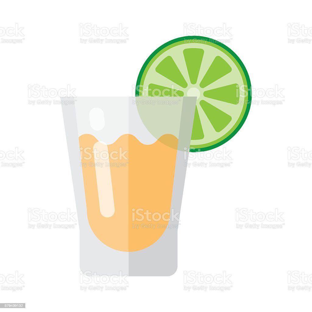 Short glass of tequila and lime vector art illustration