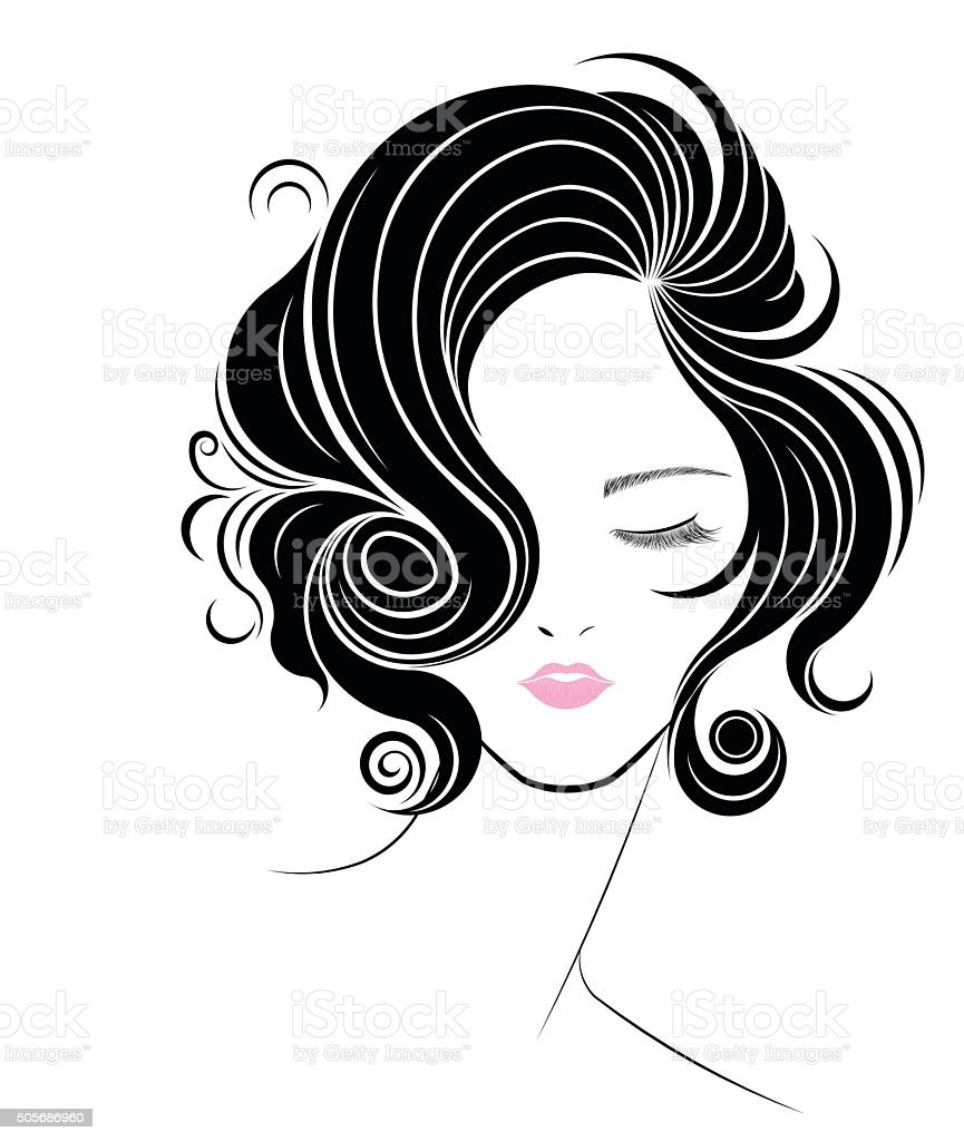 short hair style icon, logo women face vector art illustration