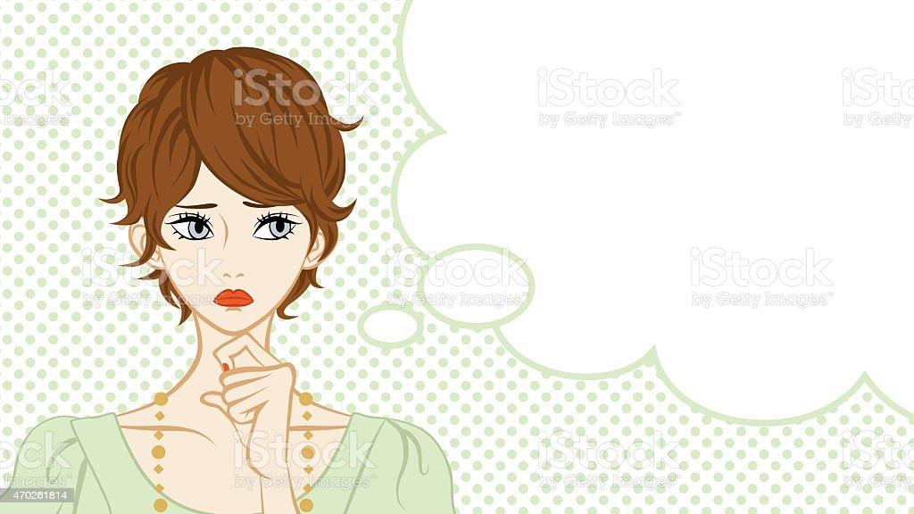 Short Hair Women Suspicion,Speech Bubble vector art illustration