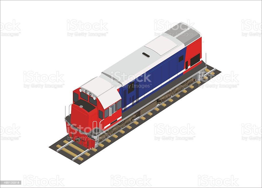short hood locomotive vector art illustration