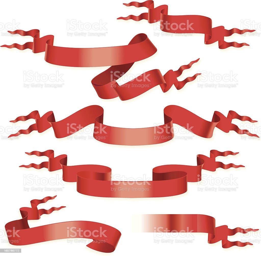 Short red forktail ribbons vector art illustration