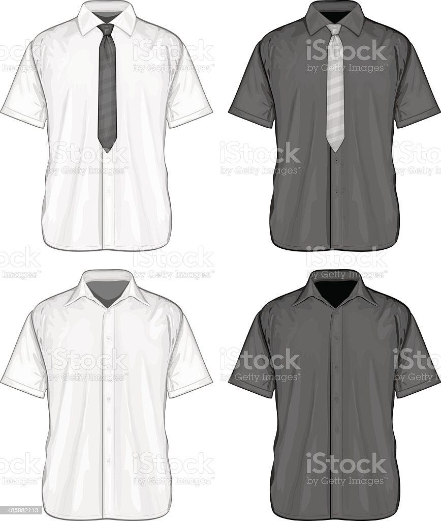 Short sleeve dress shirts vector art illustration