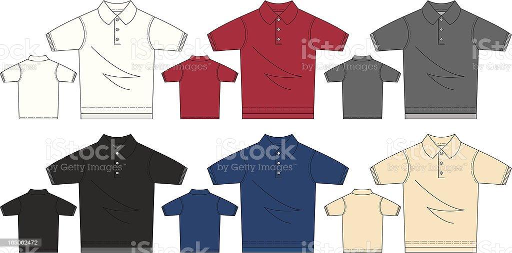 Short Sleeved Polo Pique Shirt royalty-free stock vector art