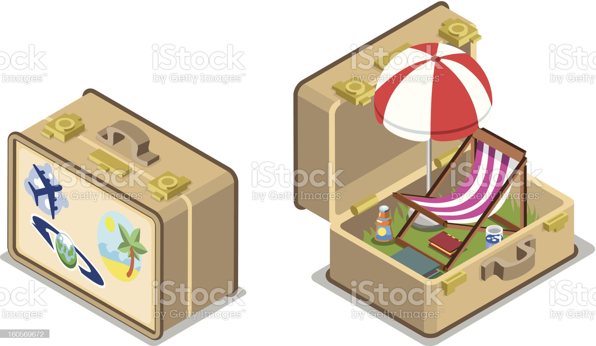 Short trip in a suitcase open and closed - vector royalty-free stock vector art