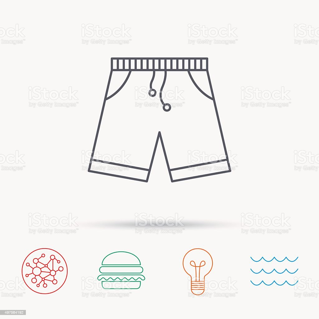 Shorts icon. Casual clothes shopping sign. vector art illustration