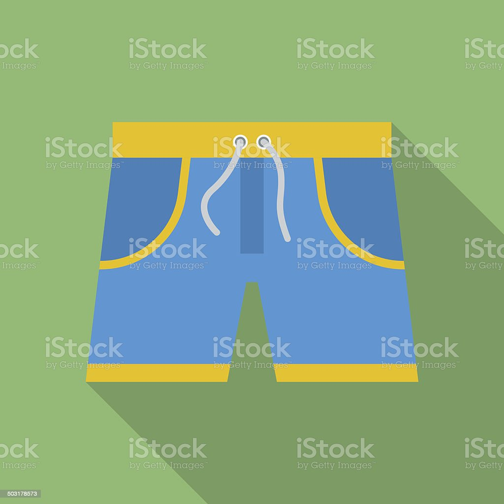 Shorts icon. Modern Flat style with a long shadow vector art illustration