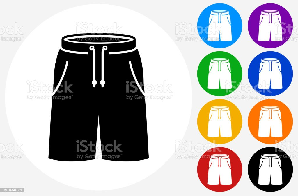 Shorts Icon on Flat Color Circle Buttons vector art illustration