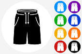 Shorts Icon on Flat Color Circle Buttons