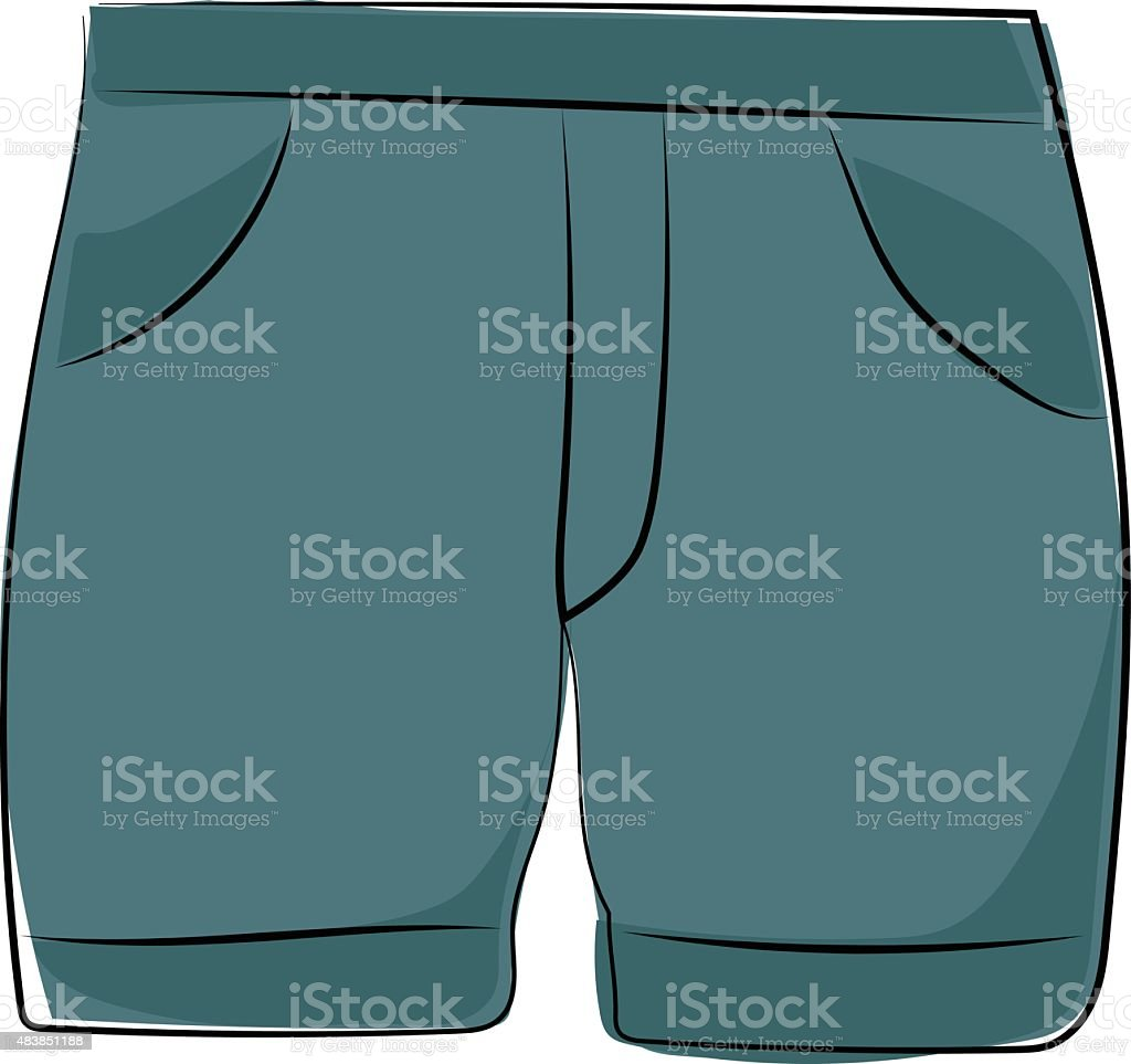 Shorts Sketchy Colored Vector Icon vector art illustration