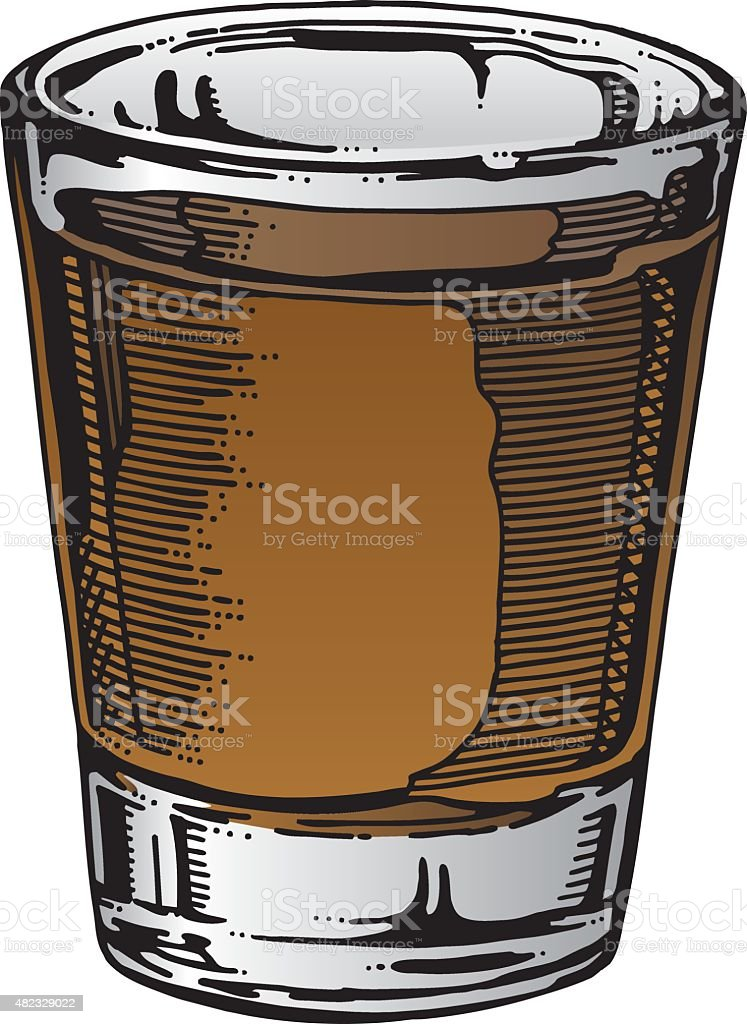 Shot Glass Hand Drawn vector art illustration