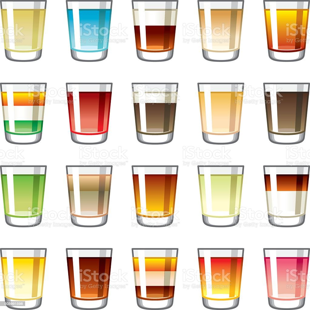 Shot Glass Icons Set vector art illustration