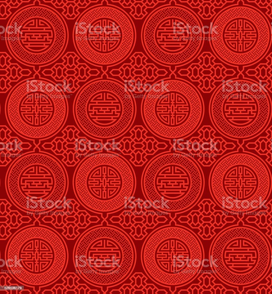 Shou and cai / Variation 1 (Seamless, oriental pattern) vector art illustration