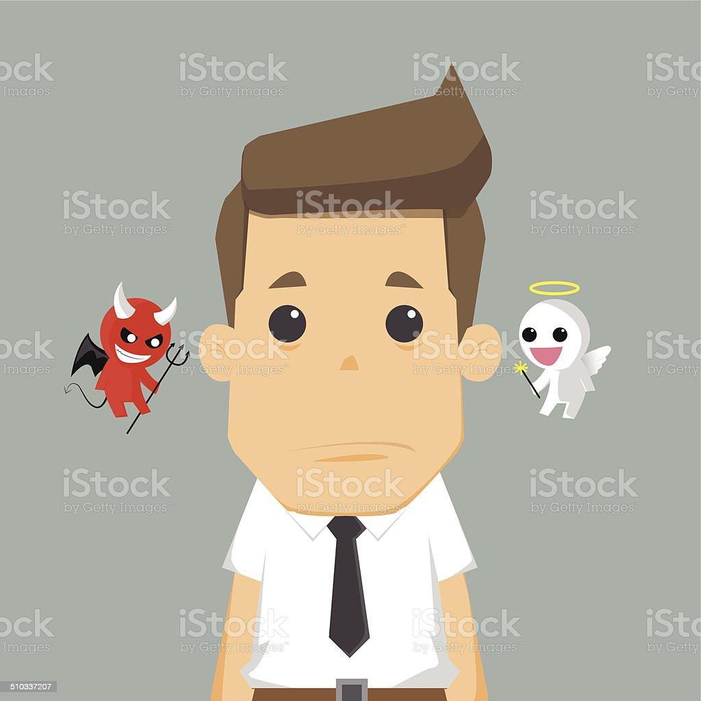 Shoulder devil and angel vector art illustration