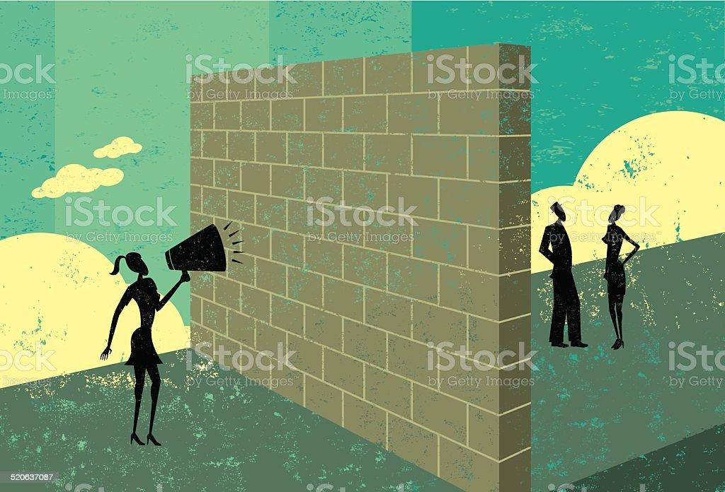 Shouting at a brickwall vector art illustration
