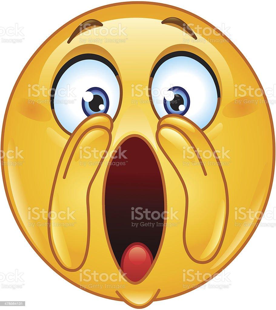 Shouting loud emoticon vector art illustration