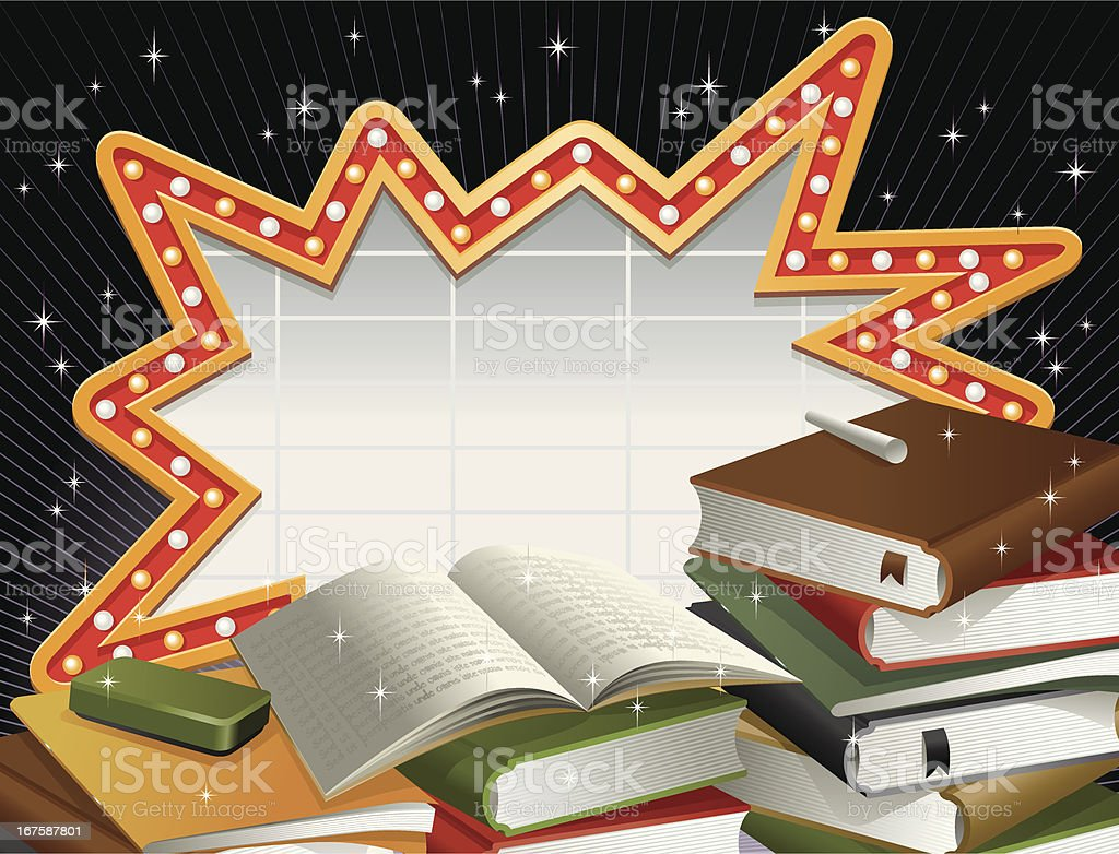 Shout-Out Marquee Neon Frame and Stacks of Books Vector vector art illustration