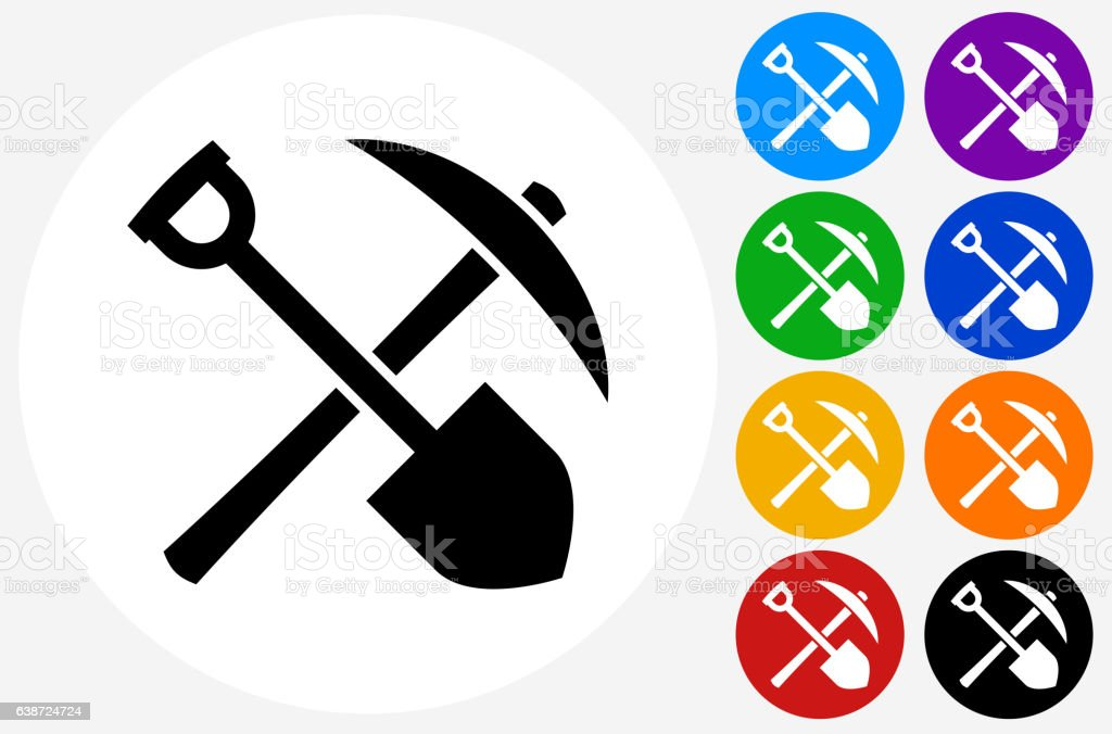 Shovel and Axe Icon on Flat Color Circle Buttons vector art illustration