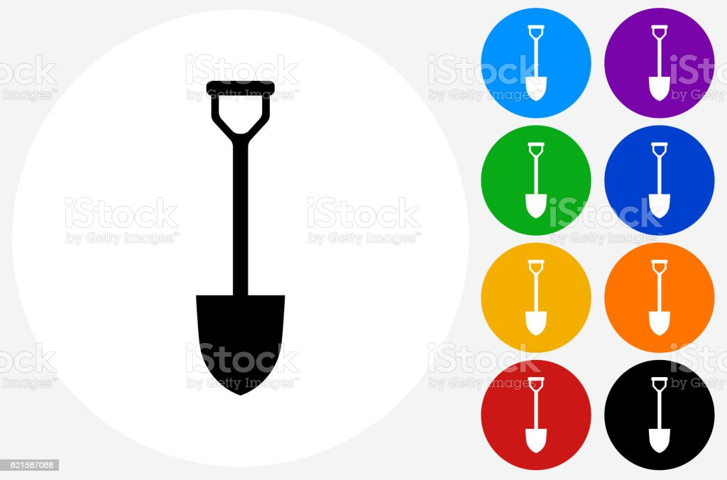 Shovel Icon on Flat Color Circle Buttons vector art illustration