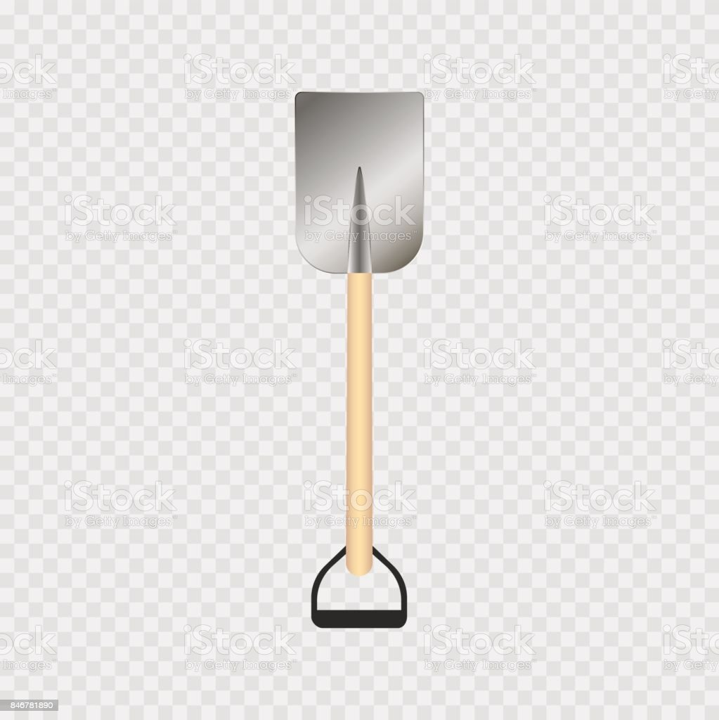 Shovel or rabbler with yellow handle icon on a grey background vector art illustration