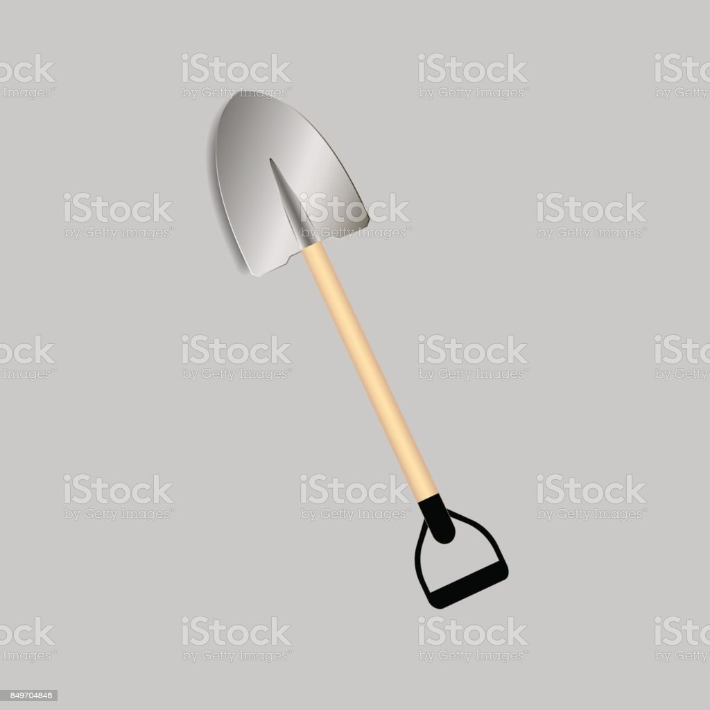 Shovel or rabbler with yellow handle icon on the grey background vector art illustration
