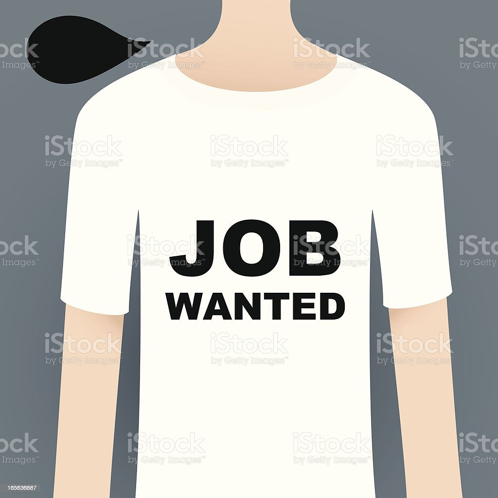 Show Your Attitude With T-Shirt ( JOB WANTED ) vector art illustration