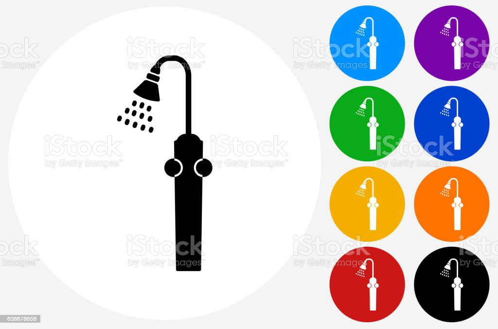 Shower Head Icon on Flat Color Circle Buttons vector art illustration