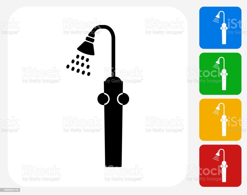 Shower Icon Flat Graphic Design vector art illustration