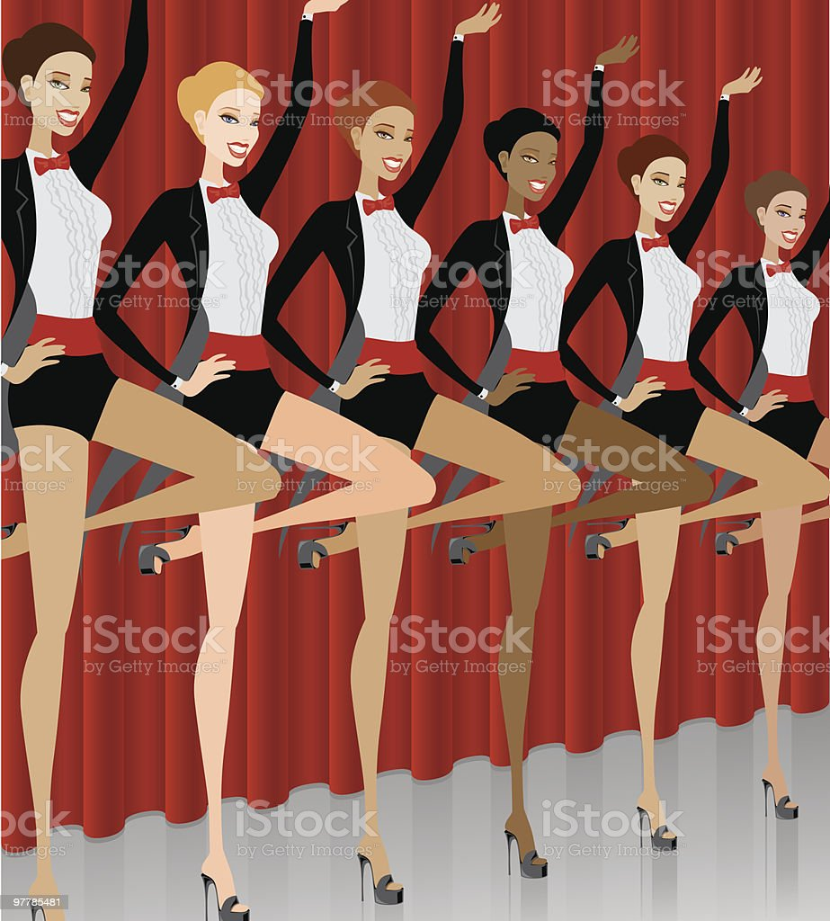 Showgirls In A Can Can Line vector art illustration