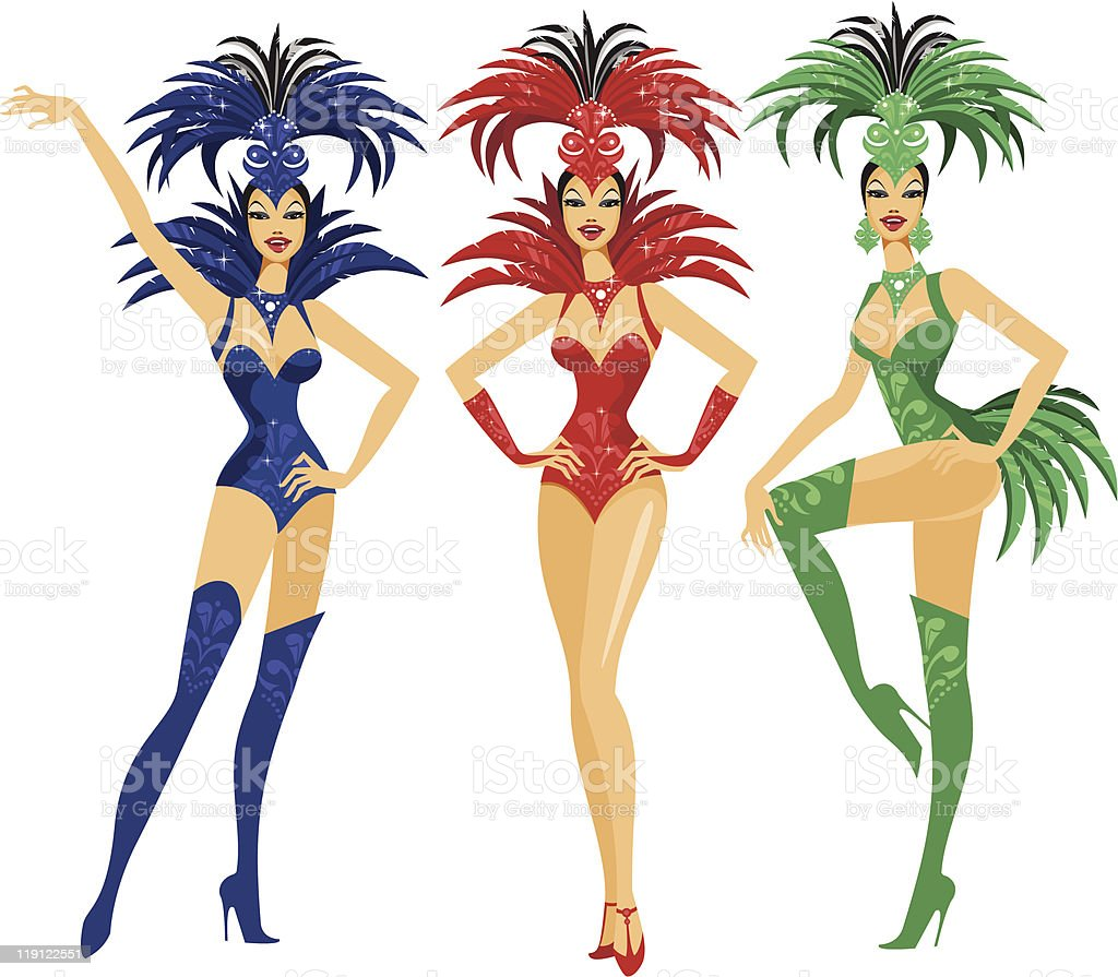 Showgirls royalty-free stock vector art
