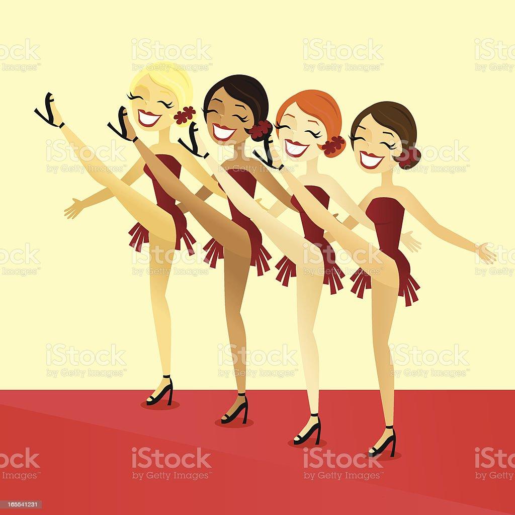 Showgirls vector art illustration