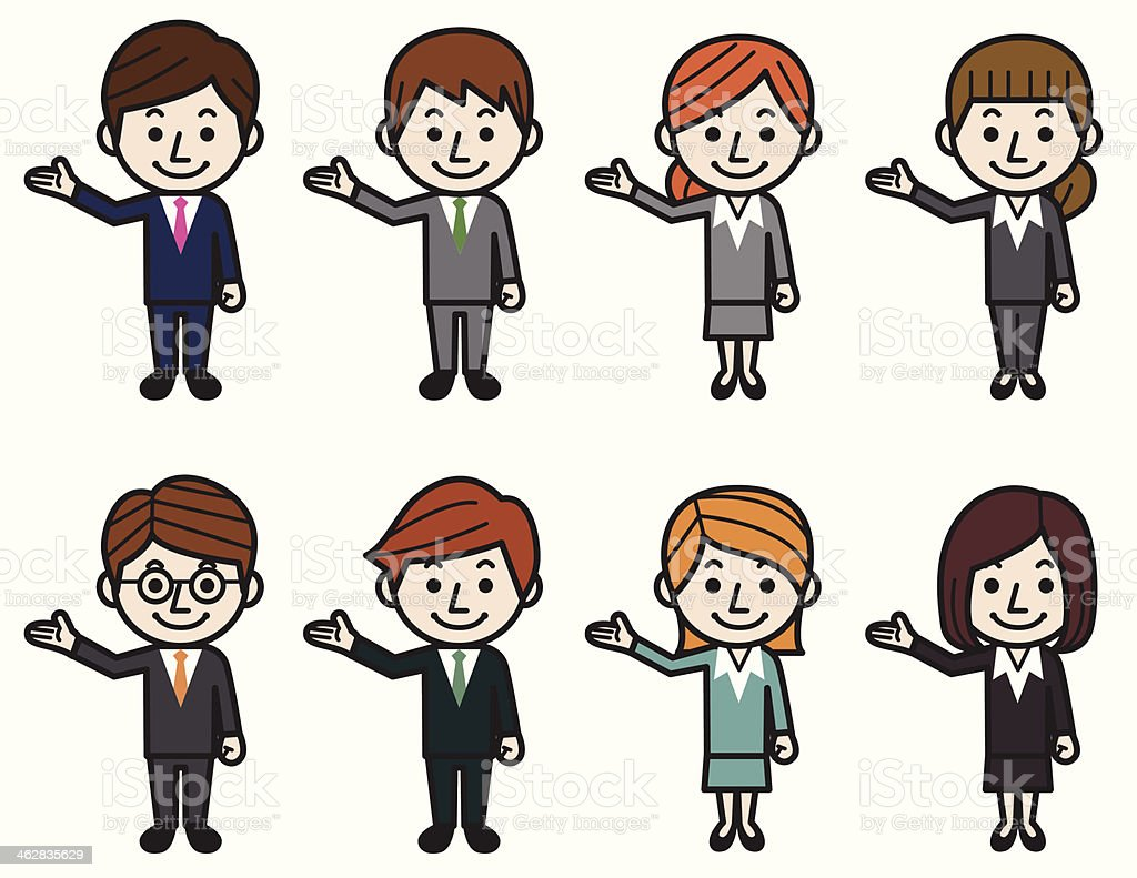 Showing business people vector art illustration