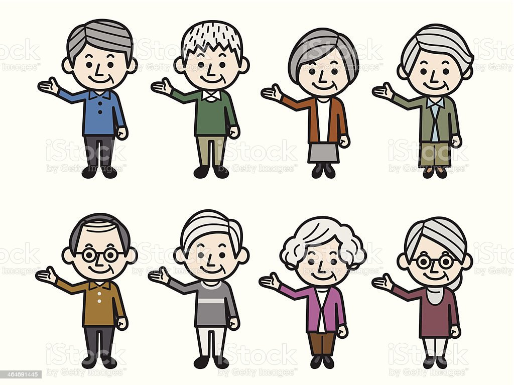 Showing business senior people royalty-free stock vector art