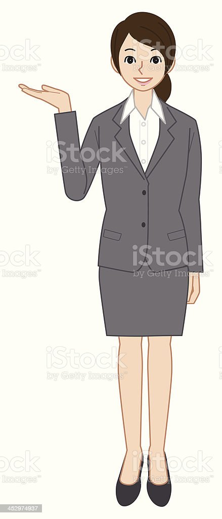 Showing business woman vector art illustration