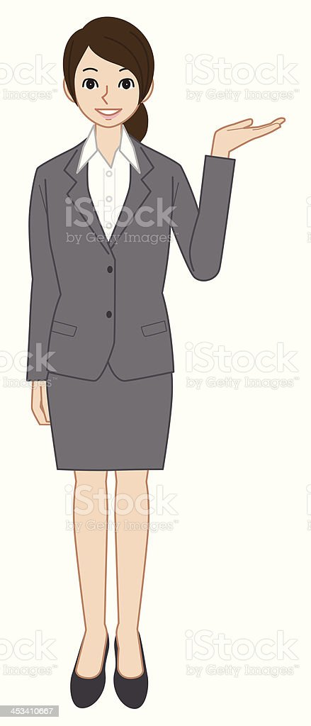 Showing business woman royalty-free stock vector art