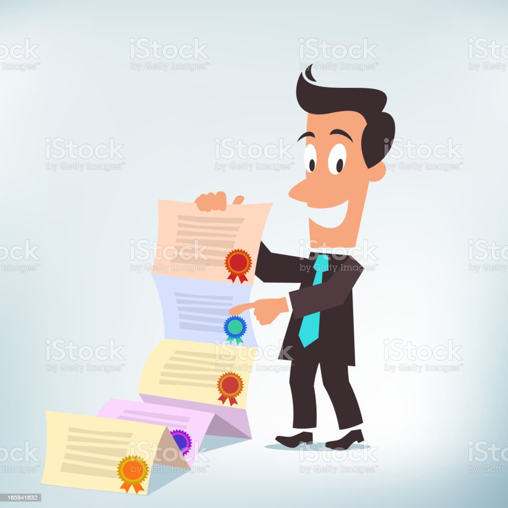 Showing Credentials royalty-free stock vector art