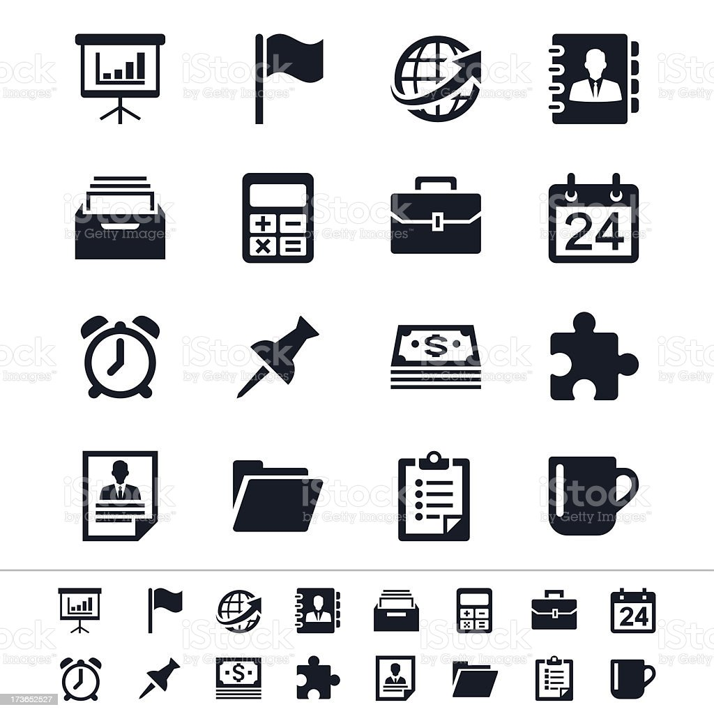 Showing various business and office icons vector art illustration