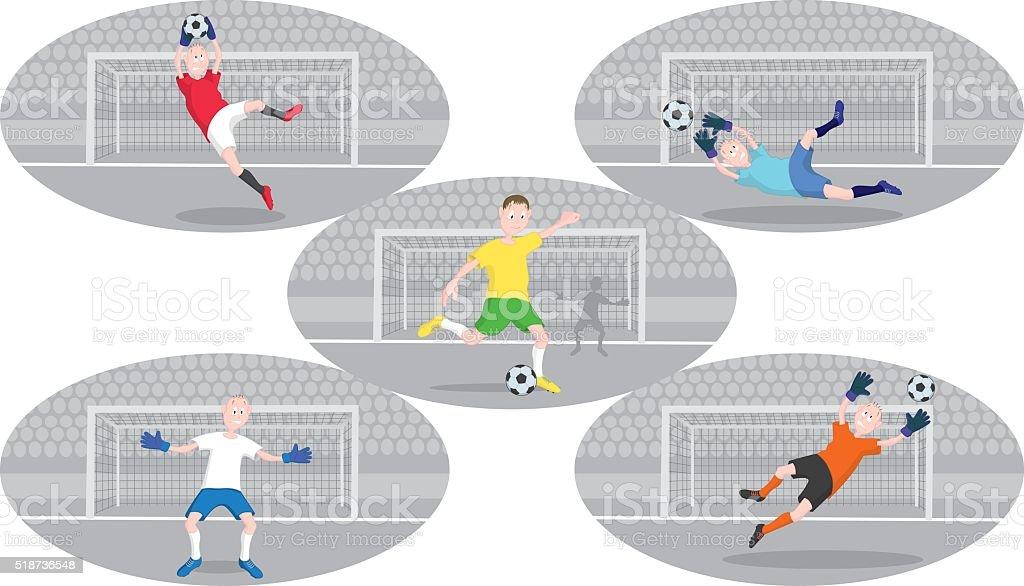 Shown soccer goalkeeper vector art illustration