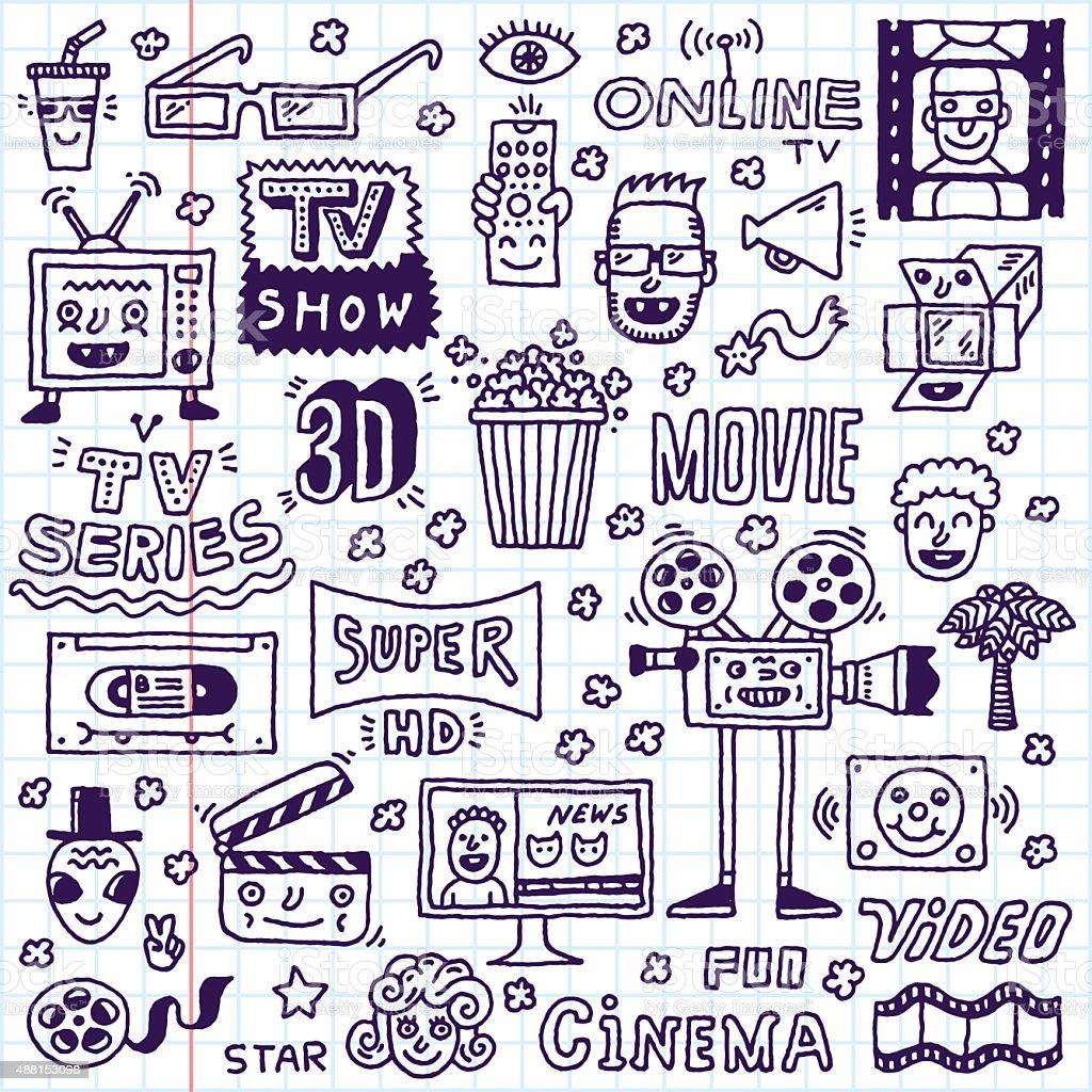 TV Shows, Series and Movies Funny Doodle Vector set. vector art illustration