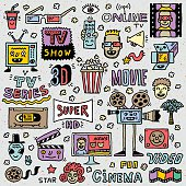 TV Shows, Series and Movies Funny Doodle Vector set.