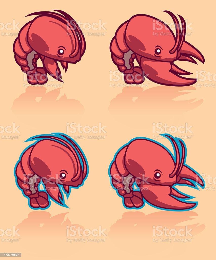 shrimp and lobster cartoon character stock vector art 472279897