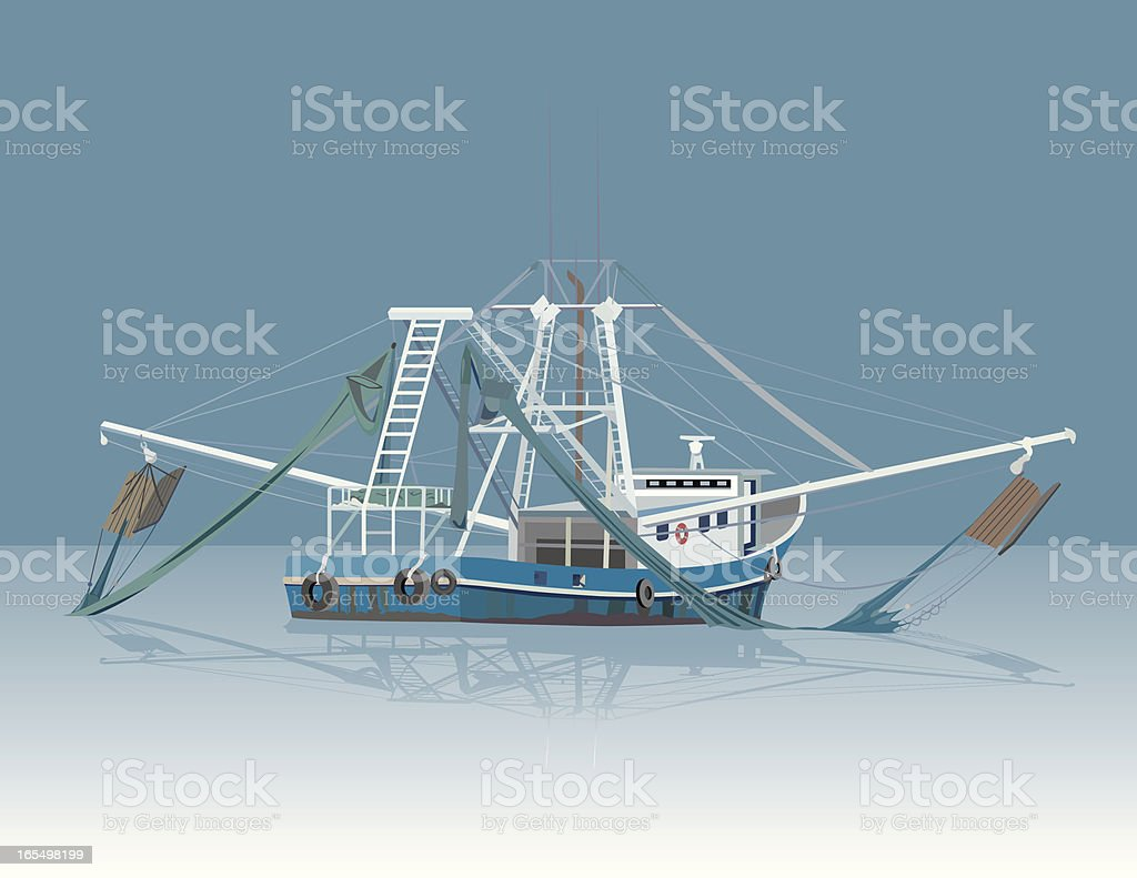 Shrimp Boat vector art illustration