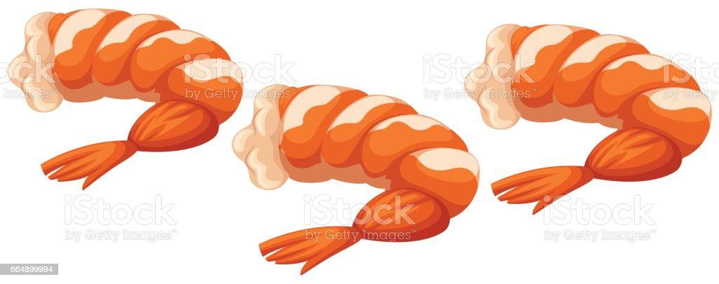 Shrimp cocktails on white background vector art illustration