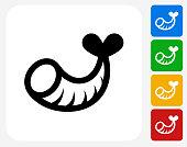 Shrimp Icon Flat Graphic Design