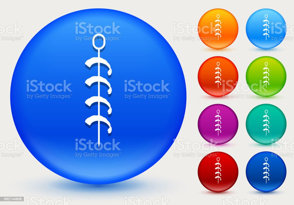 Shrimp Kabobs Icon on Shiny Color Circle Buttons vector art illustration