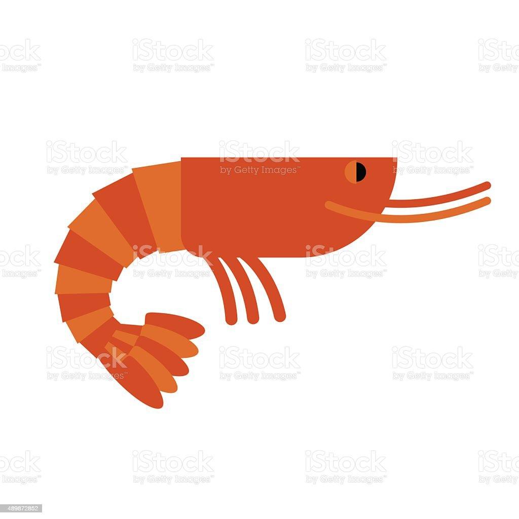 Shrimp. Marine cancroid. Boiled shrimp delicacy. Cooked Orange s vector art illustration