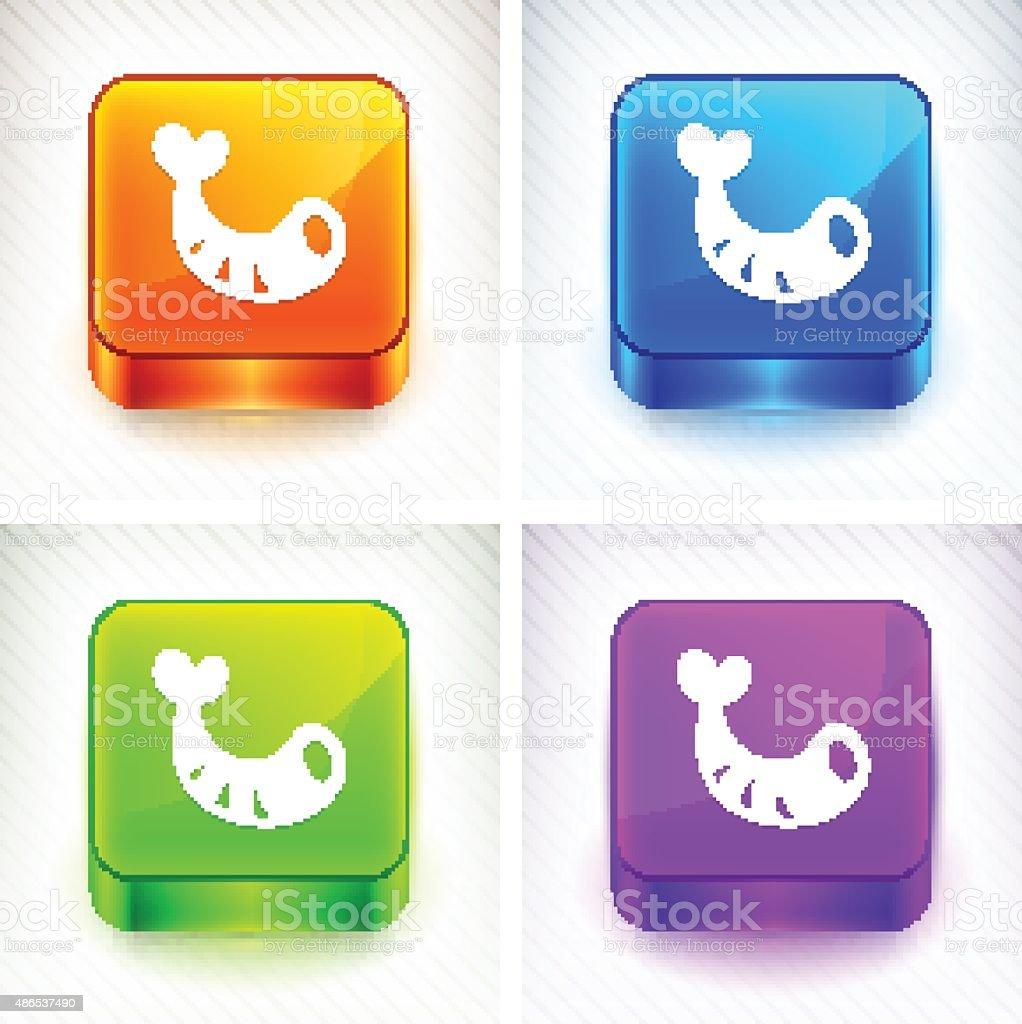 Shrimp on Color Square Buttons vector art illustration