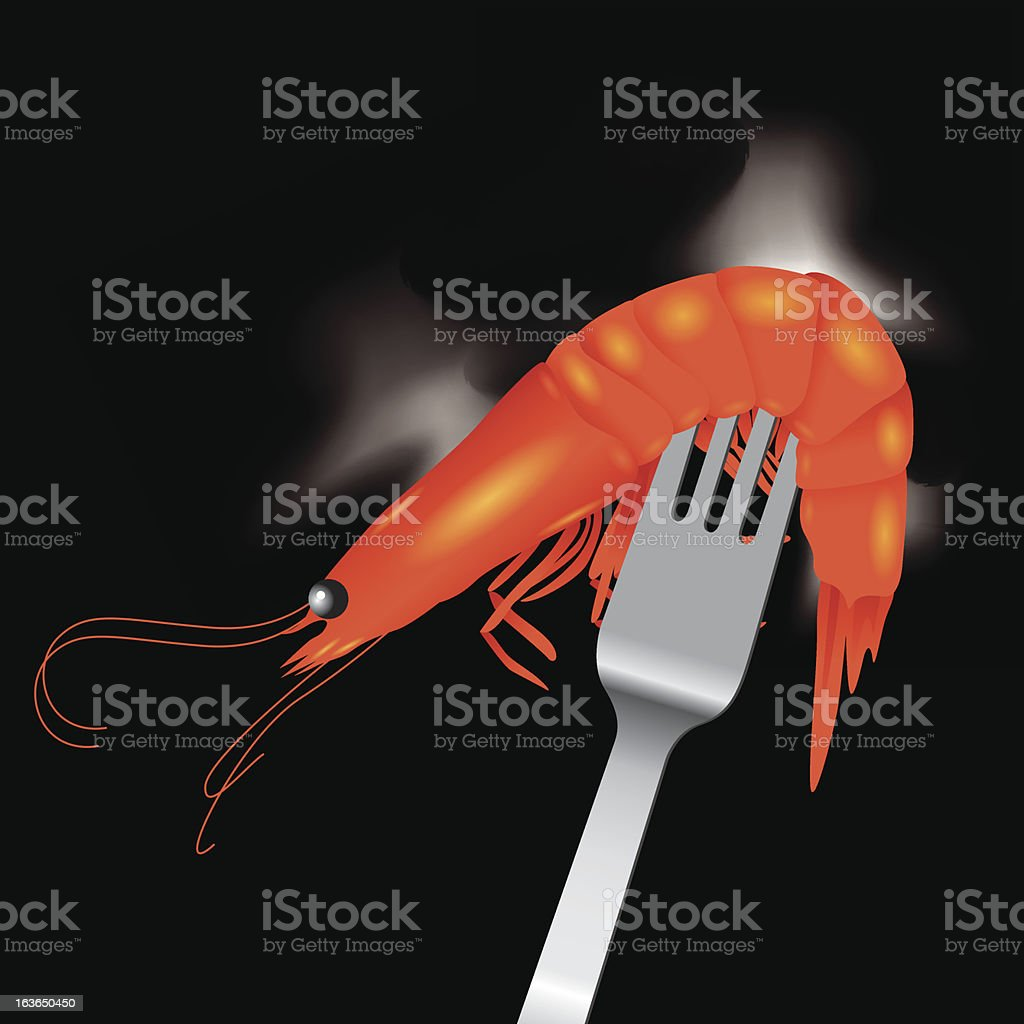 Shrimp with fork vector royalty-free stock vector art