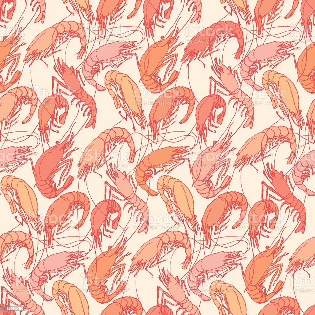 Shrimps. Seamless pattern background. Drawn illustration, sketch, doodle vector art illustration