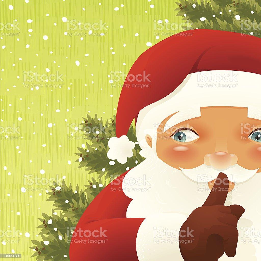 Shushing Santa - Very detailed royalty-free stock vector art