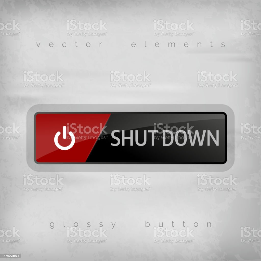 Shut down button icon in red and black vector art illustration